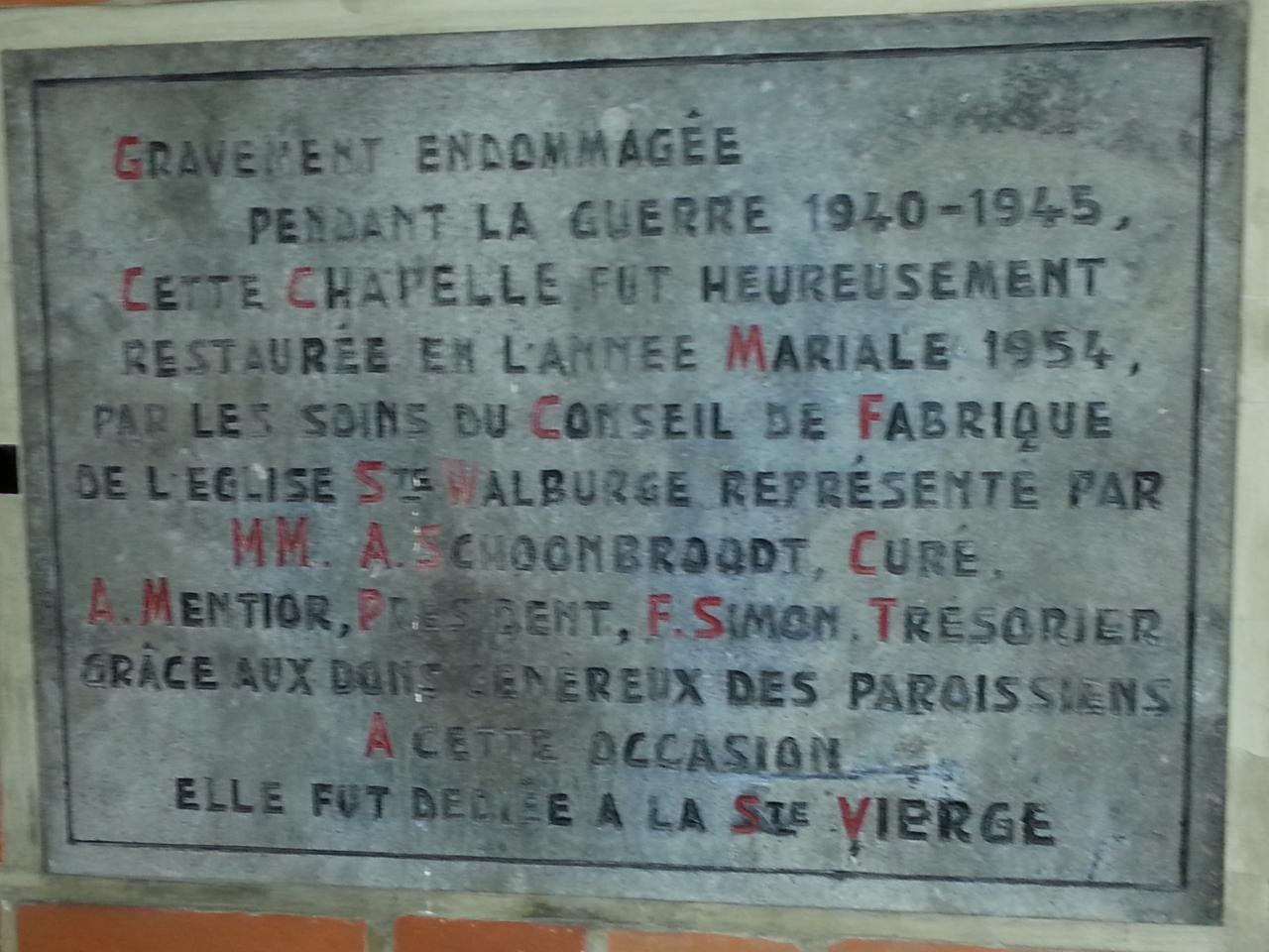 Chapelle de Xhovémont - pierre commémorative