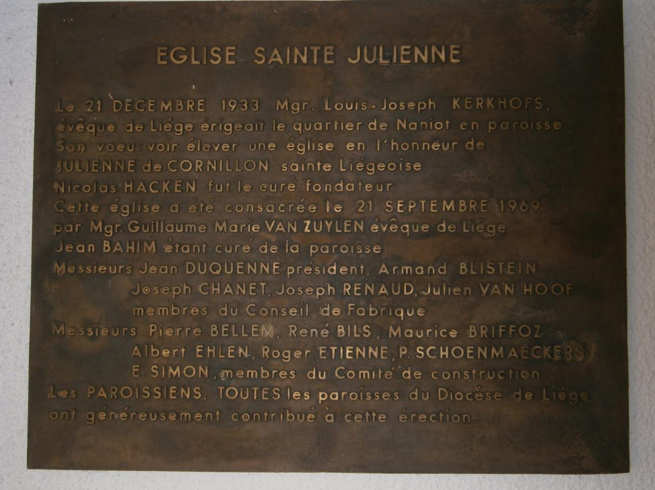 Eglise Ste-Julienne, plaque commémorative