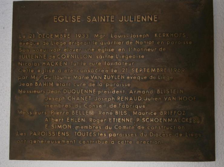Eglise Ste-Julienne, plaque commémorative